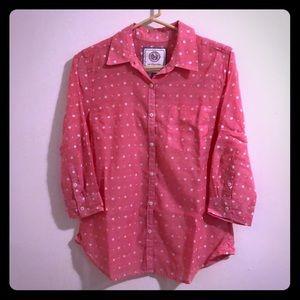 Pink w/white polka dots button up